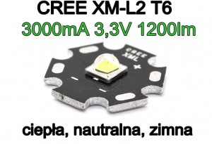 Dioda CREE XM-L2 T6 Cool/Neutral/Warm White 10W biała