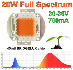 Dioda 20W full spectrum 380-840nm BRIDGELUX 45mil pełne widmo