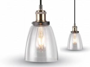 Lampa wisząca LOFT INDUSTRIAL VT-7140 Ø140 mm TRANSPARENT