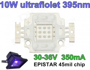 Dioda 10W UV UltraFiolet 395nm 30-36V 350mA