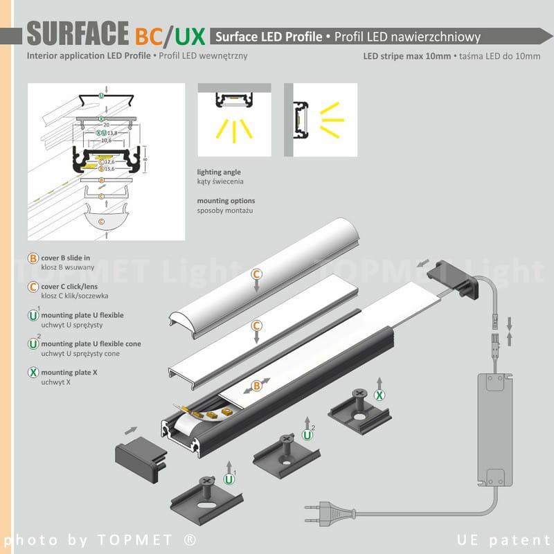Lampa podszafkowa LED 40cm MOCNA ze ściemniaczem dotykowym